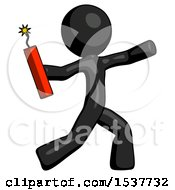 Black Design Mascot Man Throwing Dynamite