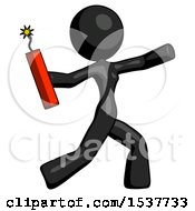 Black Design Mascot Woman Throwing Dynamite