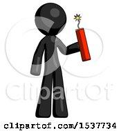 Black Design Mascot Man Holding Dynamite With Fuse Lit