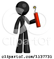 Black Design Mascot Woman Holding Dynamite With Fuse Lit