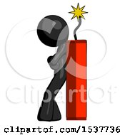 Black Design Mascot Man Leaning Against Dynimate Large Stick Ready To Blow