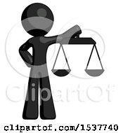 Black Design Mascot Man Holding Scales Of Justice