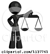 Black Design Mascot Woman Holding Scales Of Justice