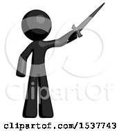Black Design Mascot Man Holding Sword In The Air Victoriously
