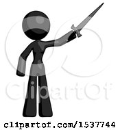 Black Design Mascot Woman Holding Sword In The Air Victoriously