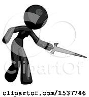 Black Design Mascot Woman Sword Pose Stabbing Or Jabbing