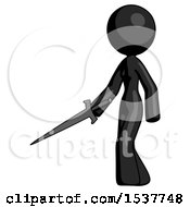 Black Design Mascot Woman With Sword Walking Confidently