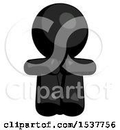 Black Design Mascot Man Sitting With Head Down Facing Forward