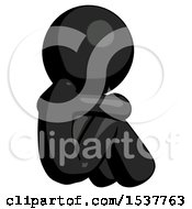 Black Design Mascot Man Sitting With Head Down Back View Facing Right