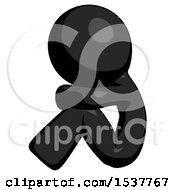 Black Design Mascot Man Sitting With Head Down Facing Sideways Left
