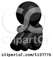 Black Design Mascot Man Sitting With Head Down Facing Angle Left