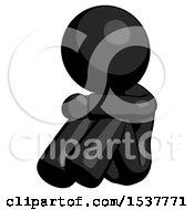 Black Design Mascot Woman Sitting With Head Down Facing Angle Left
