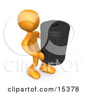 Orange Person Carrying A Heavy Trash Can Out To The Curb On Garbage Day