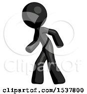 Black Design Mascot Man Suspense Action Pose Facing Left