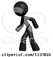 Black Design Mascot Woman Suspenseaction Pose Facing Left