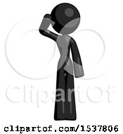 Black Design Mascot Woman Soldier Salute Pose