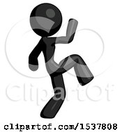Black Design Mascot Woman Kick Pose Start