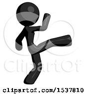 Black Design Mascot Woman Kick Pose