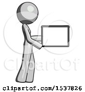 Gray Design Mascot Woman Show Tablet Device Computer To Viewer Blank Area