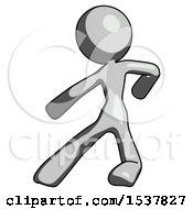 Gray Design Mascot Woman Karate Defense Pose Left