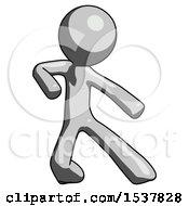 Gray Design Mascot Man Karate Defense Pose Right