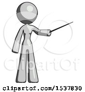 Gray Design Mascot Woman Teacher Or Conductor With Stick Or Baton Directing