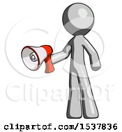 Gray Design Mascot Man Holding Megaphone Bullhorn Facing Right