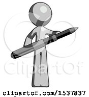 Gray Design Mascot Man Posing Confidently With Giant Pen