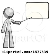 Gray Design Mascot Woman Pointing At Dry Erase Board With Stick Giving Presentation