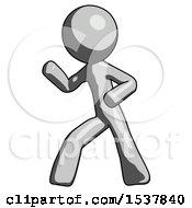 Gray Design Mascot Man Martial Arts Defense Pose Left