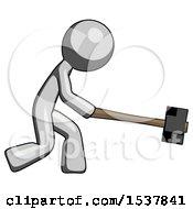 Gray Design Mascot Man Hitting With Sledgehammer Or Smashing Something