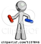 Gray Design Mascot Man Red Pill Or Blue Pill Concept