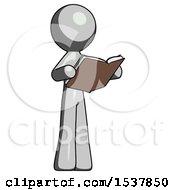 Gray Design Mascot Man Reading Book While Standing Up Facing Away