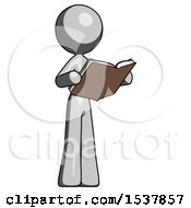 Gray Design Mascot Woman Reading Book While Standing Up Facing Away