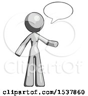 Gray Design Mascot Woman With Word Bubble Talking Chat Icon