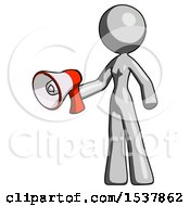 Gray Design Mascot Woman Holding Megaphone Bullhorn Facing Right