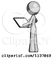 Gray Design Mascot Woman Looking At Tablet Device Computer With Back To Viewer