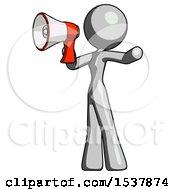 Gray Design Mascot Woman Shouting Into Megaphone Bullhorn Facing Left