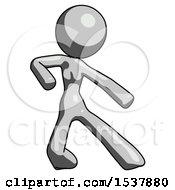 Gray Design Mascot Woman Karate Defense Pose Right