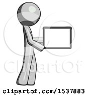 Gray Design Mascot Man Show Tablet Device Computer To Viewer Blank Area