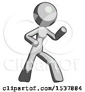 Gray Design Mascot Woman Martial Arts Defense Pose Right