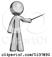 Gray Design Mascot Man Teacher Or Conductor With Stick Or Baton Directing