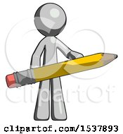 Gray Design Mascot Man Writer Or Blogger Holding Large Pencil