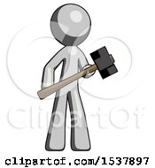 Gray Design Mascot Man With Sledgehammer Standing Ready To Work Or Defend