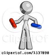 Gray Design Mascot Woman Red Pill Or Blue Pill Concept