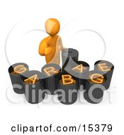 Orange Person Giving The Thumbs Up While Standing By Garbage Bins With Orange Text Reading Garbage Clipart Illustration Image