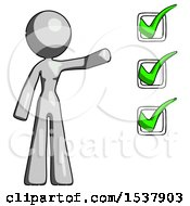 Gray Design Mascot Woman Standing By A Checkmark List Arm Extended