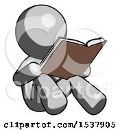 Gray Design Mascot Man Reading Book While Sitting Down