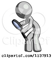 Gray Design Mascot Man Inspecting With Large Magnifying Glass Left