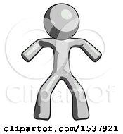 Gray Design Mascot Male Sumo Wrestling Power Pose
